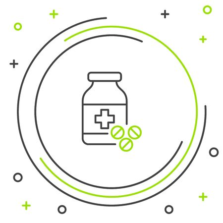 Black and green line Medicine bottle and pills icon isolated on white background. Bottle pill sign. Pharmacy design. Colorful outline concept. Vector Illustration Иллюстрация