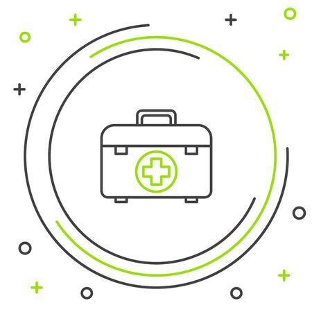 Black and green line First aid kit icon isolated on white background. Medical box with cross. Medical equipment for emergency. Healthcare concept. Colorful outline concept. Vector Illustration Иллюстрация