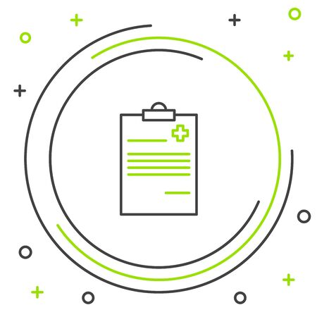 Black and green line Medical clipboard with clinical record icon on white background. Health insurance form. Prescription, medical check marks report. Colorful outline concept. Vector Illustration