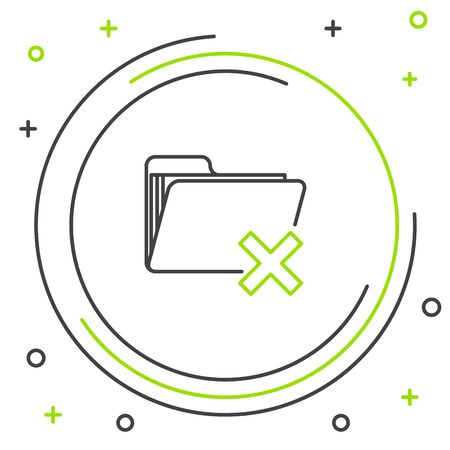 Black and green line Delete folder icon isolated on white background. Folder with recycle bin. Delete or error folder. Close computer information folder. Colorful outline concept. Vector Illustration Illusztráció