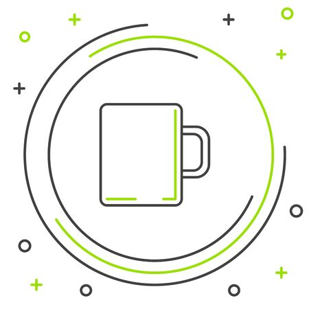 Black and green line Coffee cup flat icon isolated on white background. Tea cup. Hot drink coffee. Colorful outline concept. Vector Illustration Иллюстрация