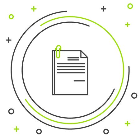 Black and green line File document and paper clip icon isolated on white background. Checklist icon. Business concept. Colorful outline concept. Vector Illustration