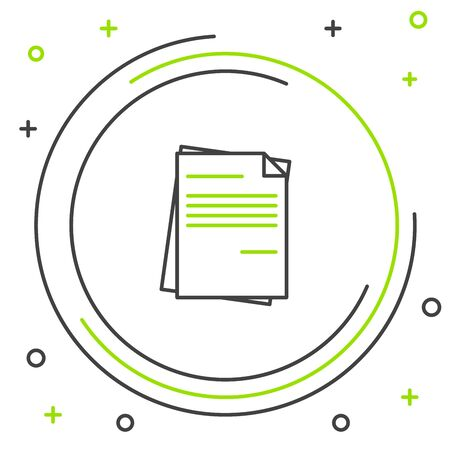 Black and green line File document icon isolated on white background. Checklist icon. Business concept. Colorful outline concept. Vector Illustration Stockfoto - 129901800