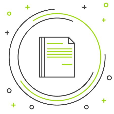 Black and green line File document icon isolated on white background. Checklist icon. Business concept. Colorful outline concept. Vector Illustration Stockfoto - 129901804
