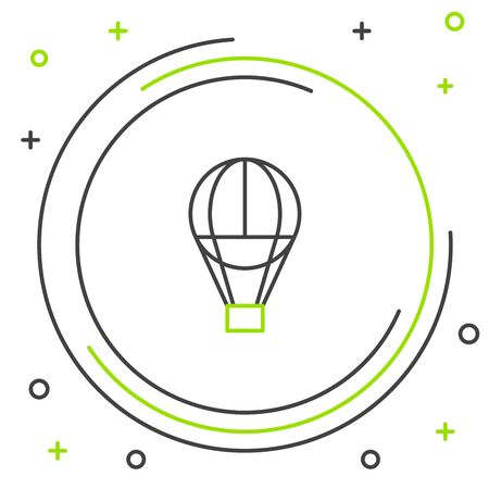 Black and green line Hot air balloon icon isolated on white background. Air transport for travel. Colorful outline concept. Vector Illustration Фото со стока - 129888778