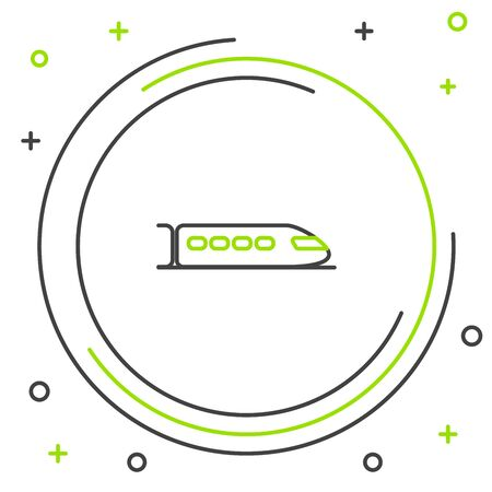 Black and green line Train icon isolated on white background. Public transportation symbol. Subway train transport. Metro underground. Colorful outline concept. Vector Illustration Ilustração