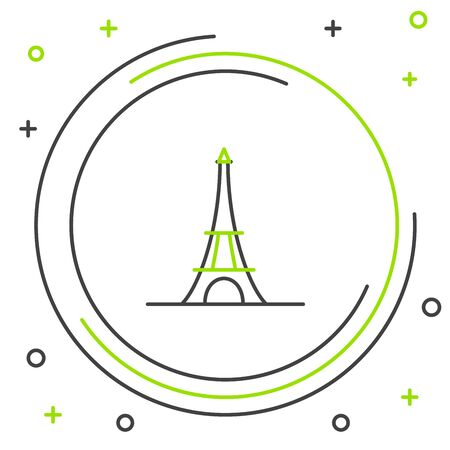Black and green line Eiffel tower icon isolated on white background. France Paris landmark symbol. Colorful outline concept. Vector Illustration