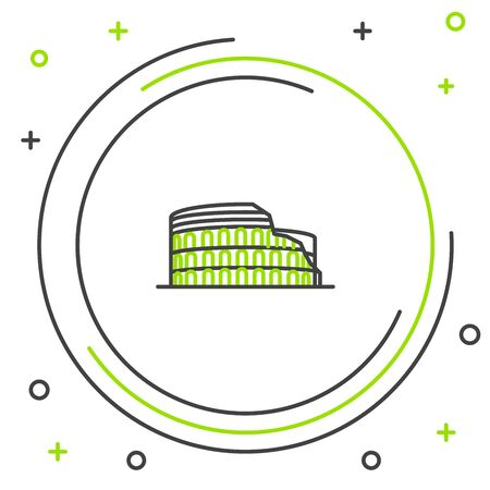 Black and green line Coliseum in Rome, Italy icon isolated on white background. Colosseum sign. Symbol of Ancient Rome, gladiator fights. Colorful outline concept. Vector Illustration