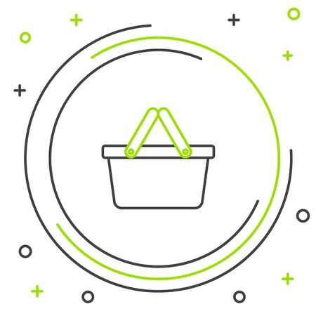 Black and green line Shopping basket icon isolated on white background. Online buying concept. Delivery service sign. Shopping cart symbol. Colorful outline concept. Vector Illustration Foto de archivo - 129901745