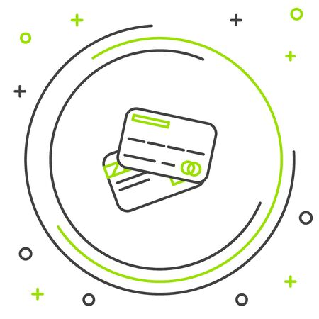 Black and green line Credit card icon isolated on white background. Online payment. Cash withdrawal. Financial operations. Shopping sign. Colorful outline concept. Vector Illustration Çizim
