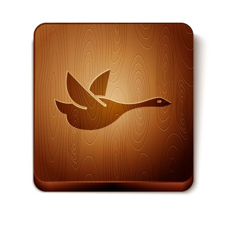Brown Flying duck icon isolated on white background. Wooden square button. Vector Illustration