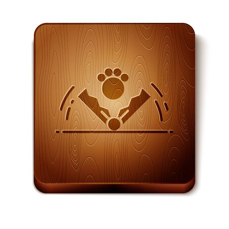 Brown Trap hunting icon isolated on white background. Wooden square button. Vector Illustration 版權商用圖片 - 129888828