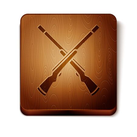 Brown Two crossed shotguns icon isolated on white background. Hunting gun. Wooden square button. Vector Illustration