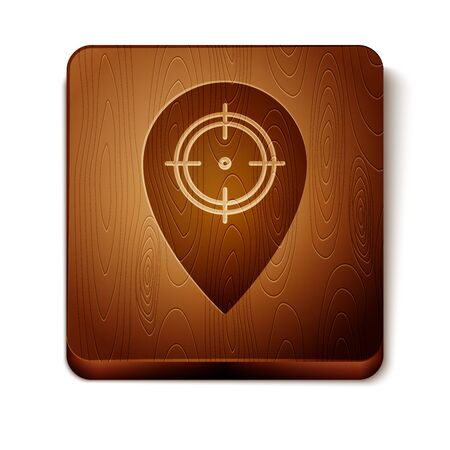 Brown Hunt place icon isolated on white background. Navigation, pointer, location, map, gps, direction, place, compass, contact, search. Wooden square button. Vector Illustration Standard-Bild - 129813371