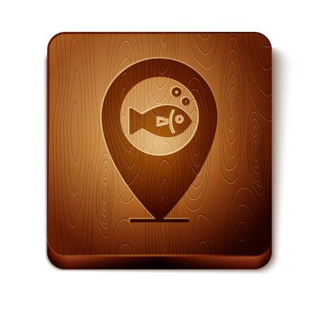 Brown Location fishing icon isolated on white background. Fishing place. Wooden square button. Vector Illustration