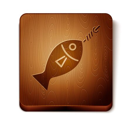 Brown Fish on hook icon isolated on white background. Wooden square button. Vector Illustration