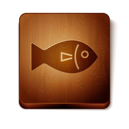 Brown Fish icon isolated on white background. Wooden square button. Vector Illustration  イラスト・ベクター素材