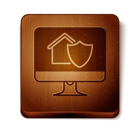 Brown Computer monitor with house under protection icon isolated on white background. Protection, safety, security, protect, defense concept. Wooden square button. Vector Illustration