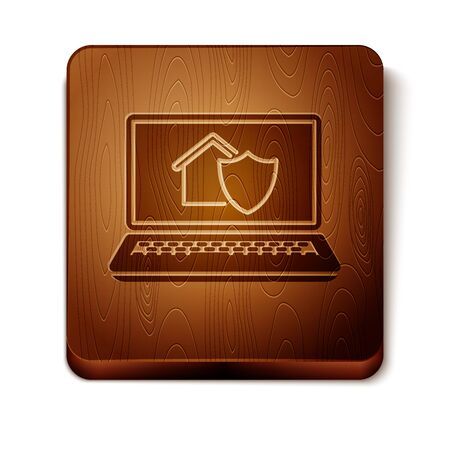 Brown Laptop with house under protection icon isolated on white background. Protection, safety, security, protect, defense concept. Wooden square button. Vector Illustration Ilustracja