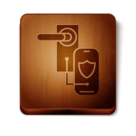 Brown Digital door lock with wireless technology for lock icon isolated on white background. Door handle sign. Security smart home. Wooden square button. Vector Illustration Foto de archivo - 129897027