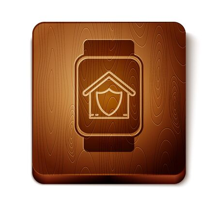 Brown Smart watch with house under protection icon isolated on white background. Protection, safety, security, protect, defense concept. Wooden square button. Vector Illustration Ilustracja