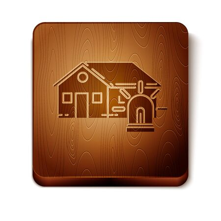 Brown Smart house and alarm icon isolated on white background. Security system of smart home. Wooden square button. Vector Illustration