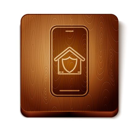 Brown Mobile phone with house under protection icon isolated on white background. Protection, safety, security, protect, defense concept. Wooden square button. Vector Illustration