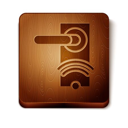 Brown Digital door lock with wireless technology for unlock icon isolated on white background. Door handle sign. Security smart home. Wooden square button. Vector Illustration Foto de archivo - 129888833