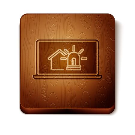 Brown Laptop with smart house and alarm icon isolated on white background. Security system of smart home. Wooden square button. Vector Illustration Ilustracja