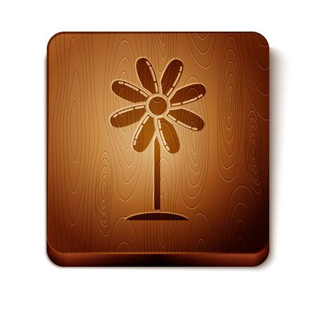 Brown Flower icon isolated on white background. Sweet natural food. Wooden square button. Vector Illustration Foto de archivo - 129888857