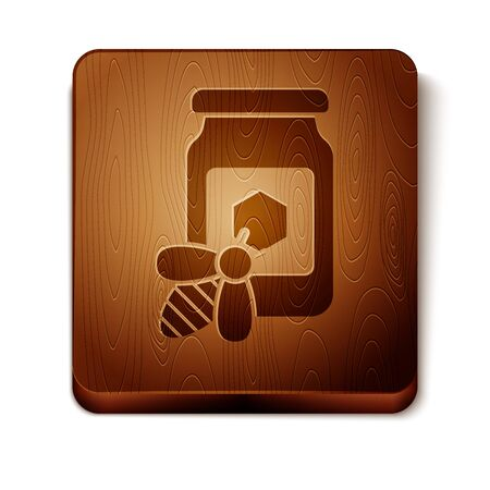 Brown Jar of honey with bee icon isolated on white background. Sweet natural food in bank. Honeybee or apis with wings symbol. Flying insect. Wooden square button. Vector Illustration