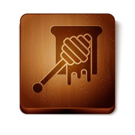 Brown Honey dipper stick with dripping honey icon isolated on white background. Honey ladle. Wooden square button. Vector Illustration Çizim