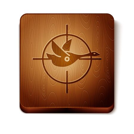 Brown Hunt on duck with crosshairs icon isolated on white background.