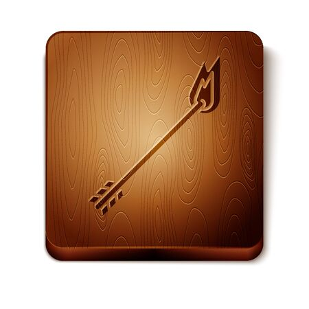 Brown Flame arrow icon isolated on white background. Hipster arrow icon. Wooden square button. Vector Illustration