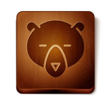 Brown Bear head icon isolated on white background. Wooden square button. Vector Illustration