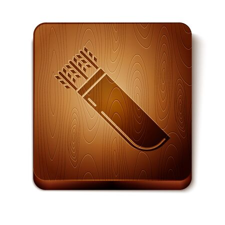 Brown Quiver with arrows icon isolated on white background. Wooden square button. Vector Illustration