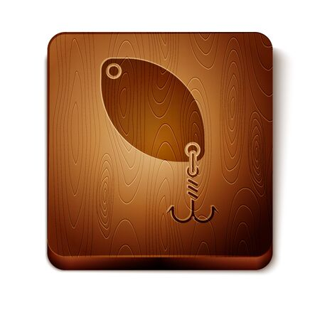 Brown Fishing spoon icon isolated on white background. Fishing baits in shape of fish. Fishing tackle. Wooden square button. Vector Illustration
