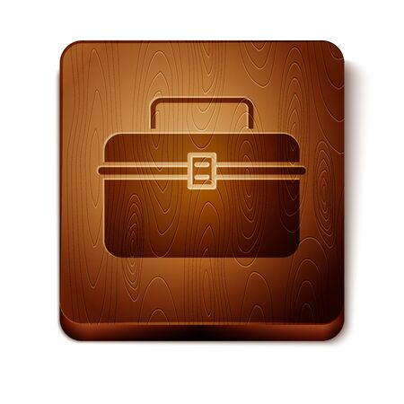 Brown Case or box container for wobbler and gear fishing equipment icon isolated on white background. Fishing tackle. Wooden square button. Vector Illustration  イラスト・ベクター素材