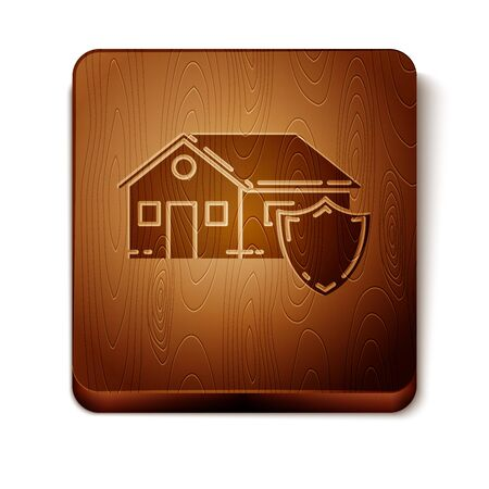 Brown House under protection icon isolated on white background. Protection, safety, security, protect, defense concept. Wooden square button. Vector Illustration Ilustracja