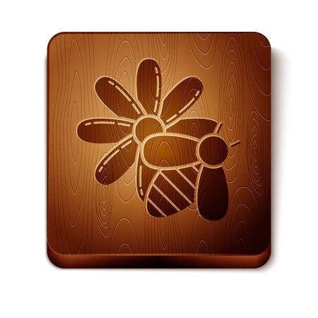 Brown Bee and flower icon isolated on white background. Sweet natural food. Honeybee or apis with wings symbol. Flying insect. Wooden square button. Vector Illustration Foto de archivo - 129901067