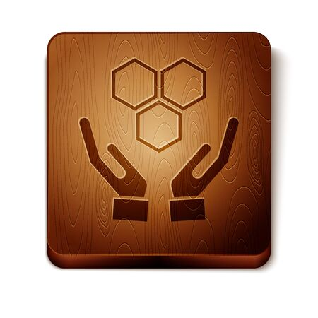 Brown Honeycomb and hands icon isolated on white background. Honey cells symbol. Sweet natural food. Wooden square button. Vector Illustration Banque d'images - 129901068
