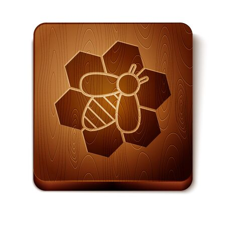 Brown Bee and honeycomb icon isolated on white background. Honey cells. Honeybee or apis with wings symbol. Flying insect. Sweet natural food. Wooden square button. Vector Illustration Banque d'images - 129901069