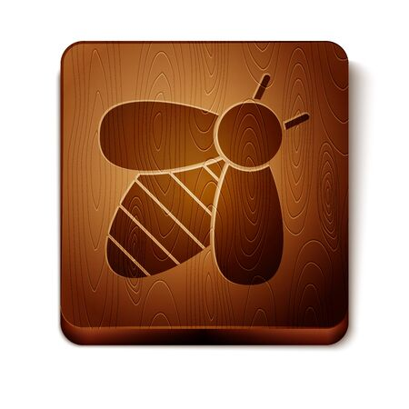 Brown Bee icon isolated on white background. Sweet natural food. Honeybee or apis with wings symbol. Flying insect. Wooden square button. Vector Illustration Foto de archivo - 129901071