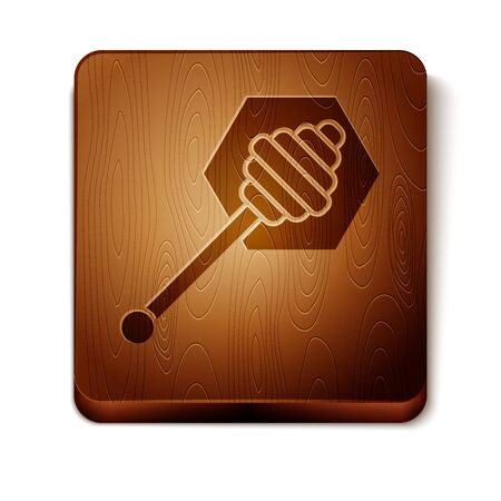 Brown Honey dipper stick icon isolated on white background. Honey ladle. Wooden square button. Vector Illustration Иллюстрация