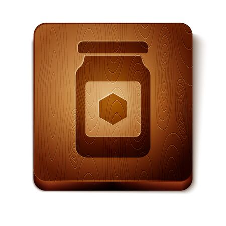 Brown Jar of honey icon isolated on white background. Food bank. Sweet natural food symbol. Wooden square button. Vector Illustration