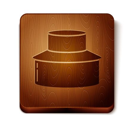 Brown Beekeeper with protect hat icon isolated on white background. Special protective uniform. Wooden square button. Vector Illustration