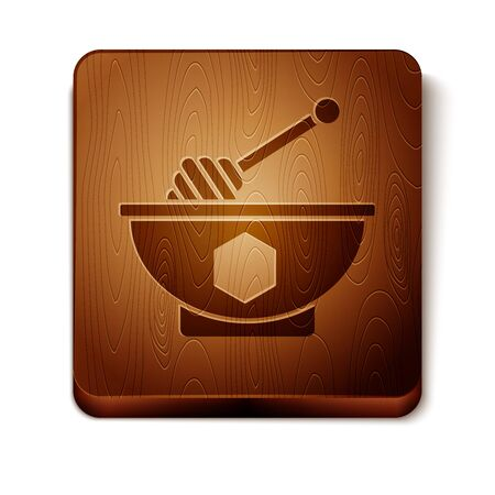 Brown Honey dipper stick and bowl icon isolated on white background. Honey ladle. Wooden square button. Vector Illustration