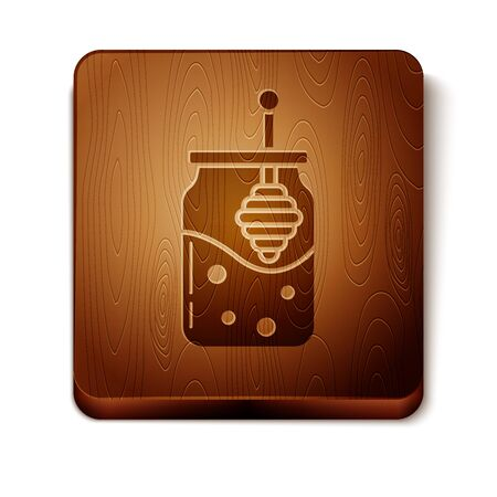 Brown Jar of honey and honey dipper stick icon isolated on white background. Food bank. Sweet natural food symbol. Honey ladle. Wooden square button. Vector Illustration