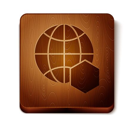 Brown Honeycomb map of the world icon isolated on white background. World bee day. Concept ecological event. Wooden square button. Vector Illustration Banque d'images - 129901074