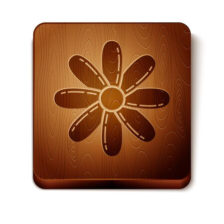 Brown Flower icon isolated on white background. Sweet natural food. Wooden square button. Vector Illustration